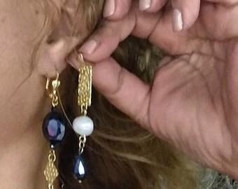 Asymmetrical Blue Crystal and Pearl Earrings