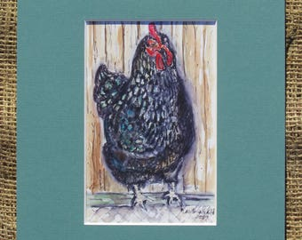 Black Hen Matted Watercolor Print