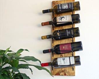 Wall Mounted Wine Rack Wood 5-Bottle Wine Bottle Holder