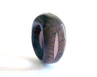 Handmade Wood and resin ring. ready to ship in size 6 and a half with coral resin