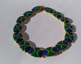 Gold Green blue Collar necklace