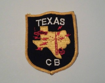 Texas CB Citizens Band Radio Operator Black Gold Old School Patch - Vintage