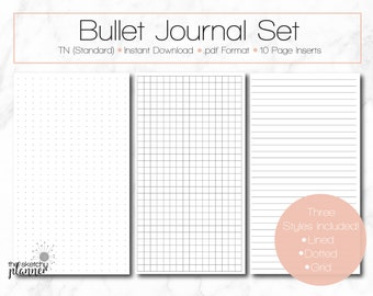 Bullet Journal Set / TN Standard / Midori / Travelers Notebook / Lined Journal / Dot Journal / Grid Journal / Grid / Erin Condren