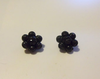 Mid-Century Cluster Earrings -- Jet Black Beaded Flower -- Marked W. Germany -- Mourning