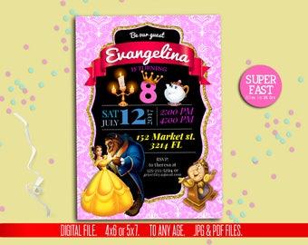 Beauty and beast Invitation,princess invitation, Beauty and beast invite, digital file, Beauty and beast printable. to Any age. BB001