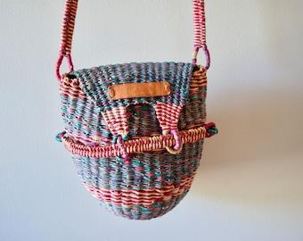 Basket Purse || Woven Bag || Boho Cross-body Handbag
