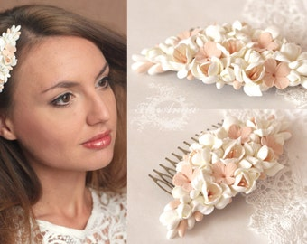 ivory comb, flower comb, wedding stuff, bride comb, fresia corsage, bridesmaids comb, gift for her, flowers headband, peach comb, ivory