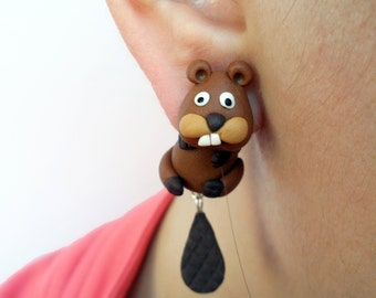 Beaver clinging earrings, beaver Fake Gauge, animal jewelry, Beaver earrings, two part earrings , Beaver jewelry velwoo