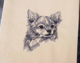 Long-haired Chihuahua Tea Towel | Dog Kitchen Towel | Embroidered Tea Towel | Dog Lover Gift | Embroidered Kitchen Towel | Custom Hand Towel