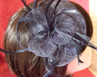 Navy Blue large petal flower sinamay & feather fascinator on a forked clip and a brooch pin. Wedding Fascinator, Races Hat, Blue Fascinator
