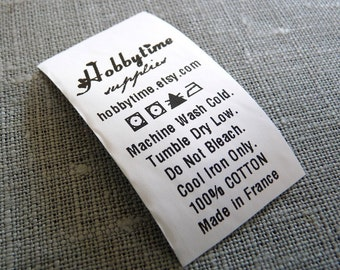 50 Custom CARE LABEL Black Printed on white Polyester  - Industrial quality printing  and CPSIA compliant - FAST TURNAROUND- PRINT YOUR BUSINESS LOGO ON THEM