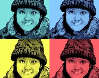Big Eyes  pop art canvas wall art digital art Gallery wrap print on canvas girl people 28X28