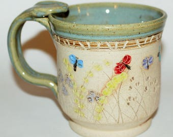 Pottery Mug Handmade Stoneware Dragonfly In The Meadow Coffee Cup