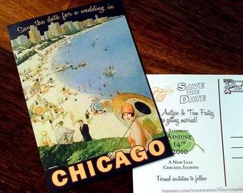 Vintage Chicago Postcard Save the Date Postcards