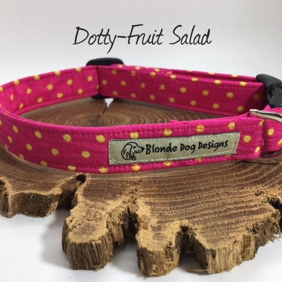 Polka Dot Collar, or, Polka Dot Lead, Fruit Salad, Pink Dog Lead, Pink Dog Collar, Luxury Dog Collar, Luxury Dog Lead.