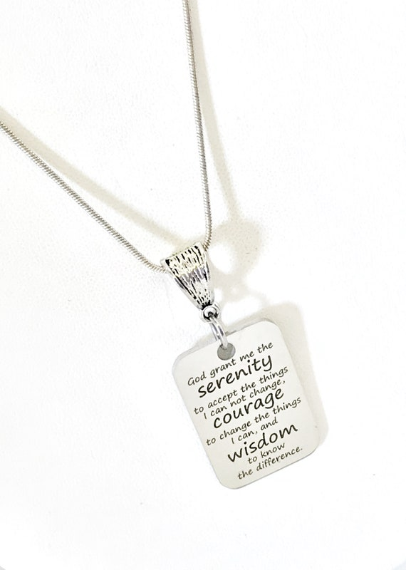 Serenity Prayer Necklace, Recovery Gift, Serenity Prayer Gift, Serenity Prayer Charm, Recovery Necklace, Necklace Charm, God Grant Me