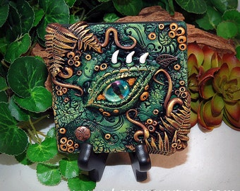 Ooak Polymer Clay Dragon's Eye Green & Brown 3 Dimensional Wall Hanging Plaque #22 With Genuine Swavorski Crystals Fantasy Art Home Decor