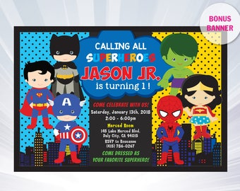 Superhero invitation - superhero invitation templates - superhero birthday party invitation - superhero party invitations