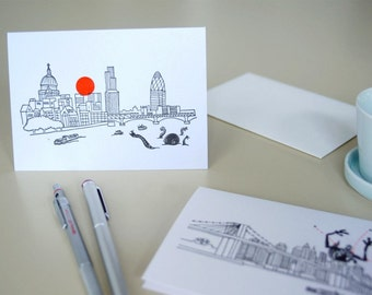 Invasion London Letterpress Greeting Card