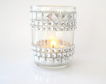 Silver jeweled bling Candle Holders votive 10 jeweled votive Wedding reception Party Decor silver votive wedding shower silver deco wedding