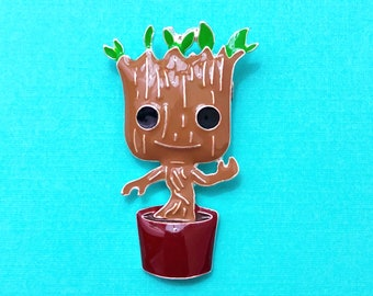 "Superhero Collection ""My Friend Tree"" Baby Groot Planted Enamel Guardian of the Galaxy Brooch Pin"