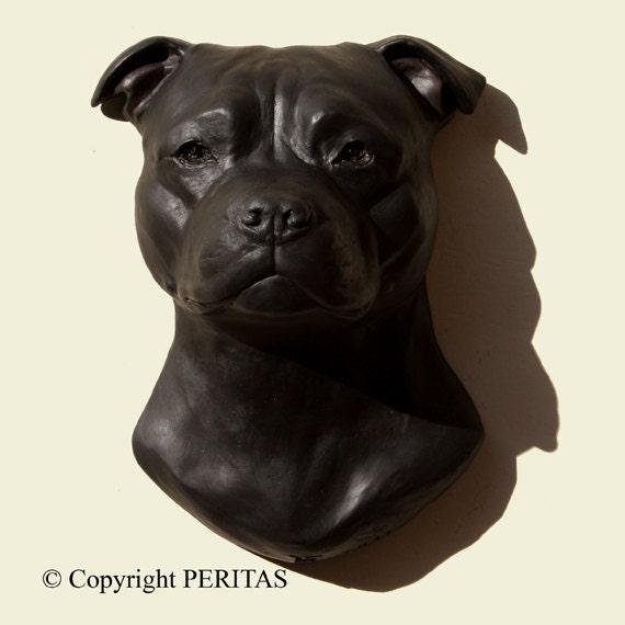 Hand painted black Staffordshire Bull Terrier dog Staff Staffy
