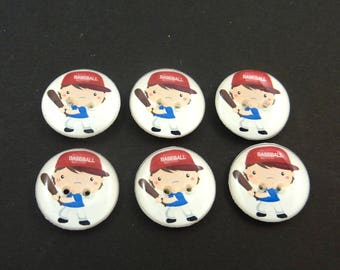 """6 Baseball Buttons.  3/4"""" or 20 mm Boy Baseball Player Sewing Buttons."""