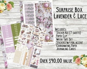 Planner Surprise Box - Lavender & Lace - Monthly Planner Stickers - Planner Subscription Box - Erin Condren - Happy Planner - Mystery