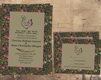Camo Wedding Invitation Pink, Doe, Hunter, Pink Camo, Pink and Green Camoflauge, Pink, Buck and Doe