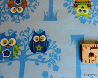 "SALE, One Half Yard Cut Quilt Fabric, Owls in Trees ""Sitting Pretty Owls"", Blue & Lime Green, on Blue, Sewing-Quilting-Craft Supplies"