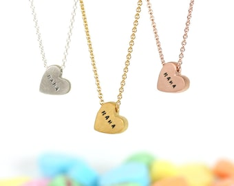 Heart Necklace | Handmade Hand Stamped | Inspirational Necklace | Delicate Necklace| Sterling Silver | Gold | Rose Gold