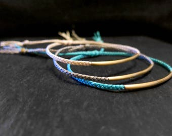 waxed cord bracelet brass tube bead / friendship bracelet / woven bracelet / adjustable bracelet / macrame bracelet / braided bracelet