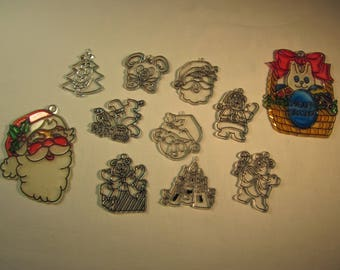 """11 Christmas plastic ornaments, for staining or painting, 2 already painted, child crafts, 2"""" and 4"""""""
