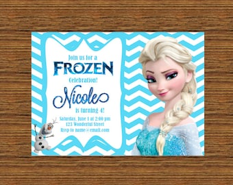 PRINTABLE Custom Invitation - Ice Blue and White Chevron Frozen Theme Invitation featuring Elsa and Olaf