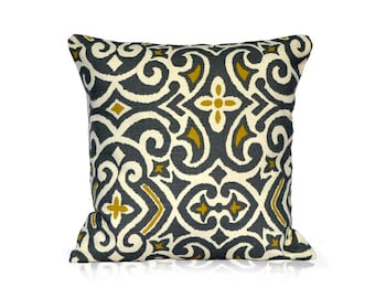 Pillows sofa pillow accent pillow cover throw pillow Damask Grey and yellow Pillow Cover 20x20 inch