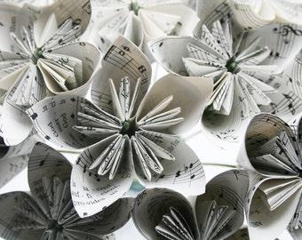 Music flowers - Set of 6 sheet music/hymnal flowers