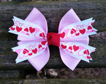 Valentines Day Hair Bow (pink, red, white, hearts) 4 inch