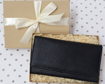Gift Boxed Women's Large Handmade Leather Purse