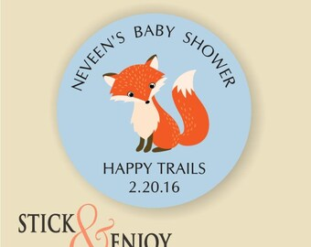 Woodland Fox Custom Waterproof baby shower Stickers, Personalized baby shower Labels, Favor labels stickers