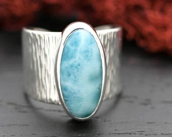 Silver Larimar Ring   Wide Band Larimar Silver Ring   Unique Sterling Silver Ring Cuff   Adjustable Band Ring   Larimar Ring Cuff