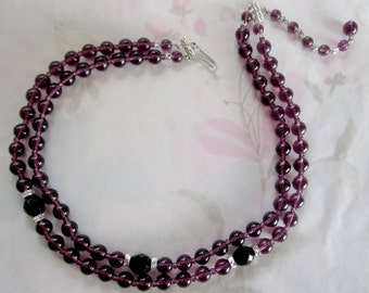 vintage 2 strand amethyst purple glass bead necklace - j5001