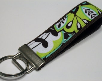 Fabric Key Fob, Key Chain, Key Ring, Key Holder, Wristlet Key Fob, Wristlet Keychain, Fabric Key fobs-Rainforest