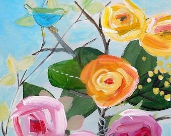 Garden bird - original painting / abstract art / acrylic painting / flowers / bird / bright / contemporary art