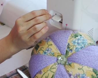 Jumbo Purple Pin Cushion ~ Large Hydrangea Pincushion ~ Extra Large Patchwork Pincushion ~ Floral Felt Pin Cushion