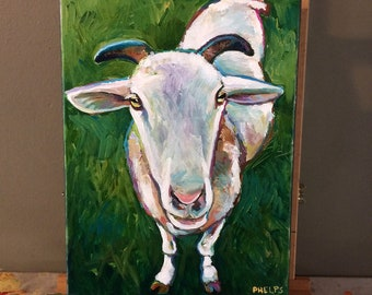 "9"" by 12"" Original SHEEP PAINTING by Robert Phelps--Original Farm Art, Farm Animal Art, Sheep Art, Goat Painting"