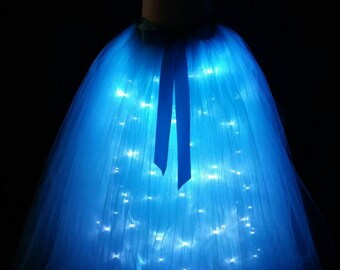 Turquoise long LED tutu ** Halloween Orders Available ** / Children to adult Tutu costumes/ Light up tulle skirts (33 colors available)