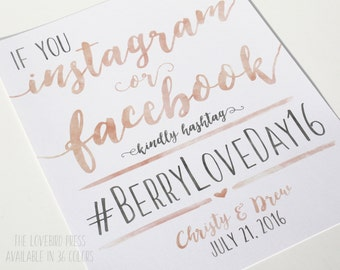 If you Instagram or Facebook Sign - Printable Hashtag Wedding Sign - Watercolor Wedding - PDF - DIY - AA6