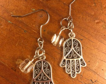 Silver Hand & Bead Earrings