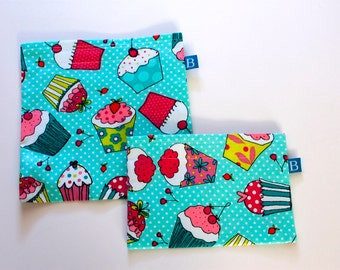 Reuseable Eco-Friendly Set of Snack and Sandwich Bags in Cupcakes Fabric