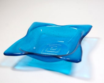Blue Candle Holder, Glass Bowl, Home Decor, Fused Glass